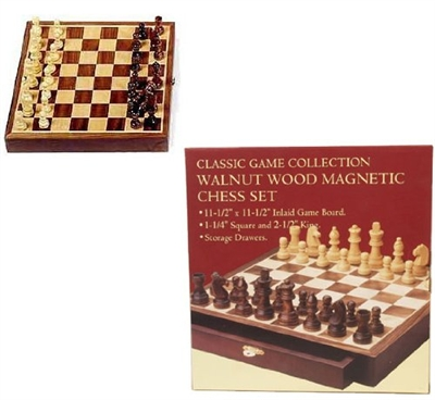 Wallnut Wood Magnetic Chess Set