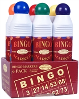 Bingo Markers Daubers Set of Six 4.0 FL Oz. Bottles