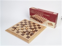 Classic Game Collection Deluxe Staunton Wood Chess and Checkers Set