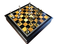 Metal Chess Set With Deluxe Wood Board and Storage