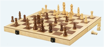 "16"" Wood Chess Set with Premium Handcarved Chessmen"