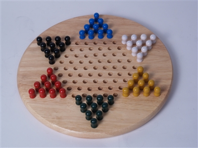 Chinese Checkers with Wood Pegs