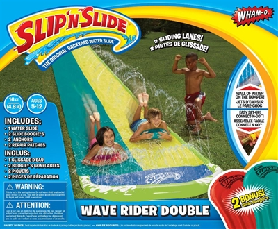 Wham-O Slip 'N Slide Wave Rider Double With 2 Slide Boogies