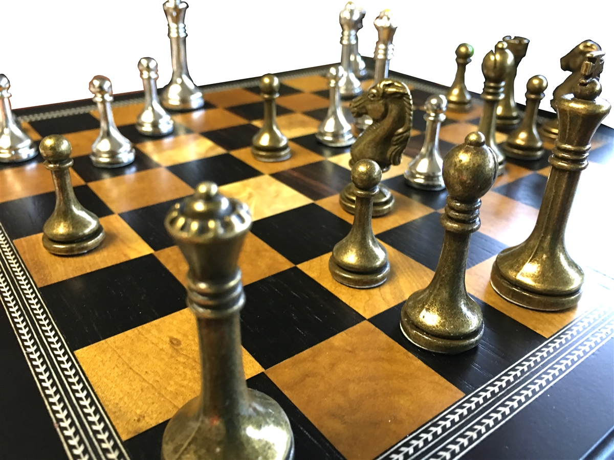 Metal chess set with deluxe wood board and storage - Deluxe chess sets ...