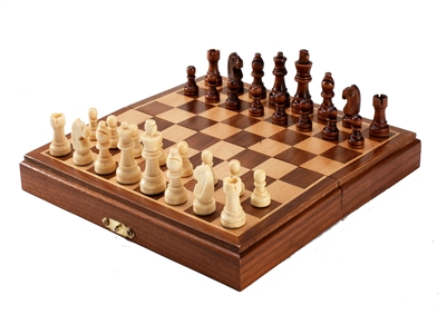 "Magnetic Travel 8"" Wood Chess Set"
