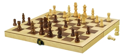 "12"" Wood Chess Set with Premium Handcarved Chessmen"
