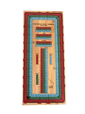 3-Track  Continuous Color Cribbage Board